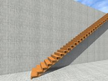 Stair on wall background building or architecture. Conceptual stair on wall background building or architecture as metaphor to business success, growth, progress Stock Images