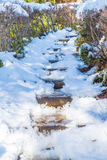 stair way with snow Stock Photo