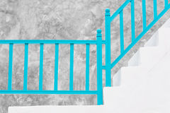 Stair white with blue wooden Royalty Free Stock Image