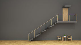 Stair , wood chair and coffee table with gray wall / 3d renderin Stock Images