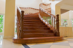 Stair. The wood stair is interior in the building  this is a luxury style Stock Image