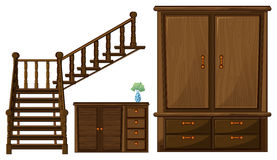 A stair and wooden furnitures. Illustration of a stair and wooden furnitures on a white background Royalty Free Stock Photos