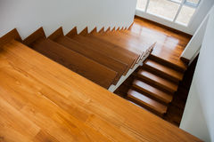 Stair. A wooden stair with nature light Stock Photo