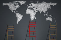 Stair with world map Stock Photos