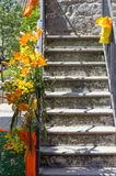 Stair and yellow flowers Stock Photo
