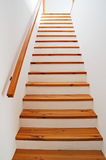 Staircase. Interior - wood stairs and handrail Stock Photography