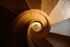 Staircase. A staircase with many shades o light Royalty Free Stock Photo