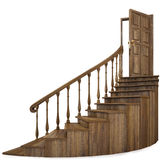 Staircase. Wooden twisted staircase and opened door. isolated on white. with clipping path Royalty Free Stock Images