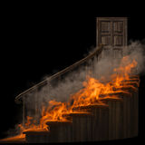 Staircase. Burning wooden twisted staircase and closed door. isolated on black Stock Photos