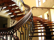 Staircase. A beautiful staircase made of wood and metal supports Royalty Free Stock Images