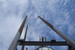 Staircase. Metal pipes sky staircase pillar Stock Photo