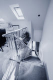 Staircase. A staircase area in newly restored rebuilt house stock photos