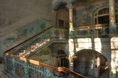 Staircase in an abandoned hospital in Beelitz Royalty Free Stock Images