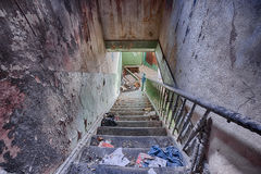Staircase in an abandoned house Stock Photos