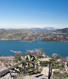 Staircase with almond of Zahara. Lake located in the town of Zahara de la Sierra in the Spanish province of Cadiz, is the coast and mountain scenery in the Royalty Free Stock Photography
