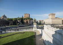 Staircase altar of the homeland rome Italy europe. View from the stairway of the altar of the homeland in rome with square and palace venice Stock Photography