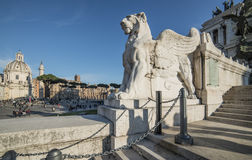 Staircase altar of the homeland rome Italy europe. View from the stairway of the 'altar of the homeland in rome with the trajan column and the dome of the church Stock Image