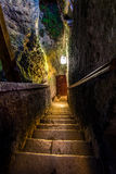 Staircase in an ancient castle. Of Predjama, Slovenia Royalty Free Stock Images