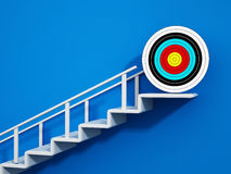 Staircase with an arrow leading up to target. 3D illustration.  Stock Images