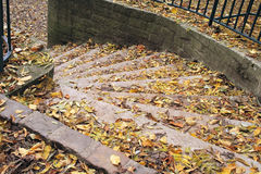 Staircase in autumn Royalty Free Stock Photography