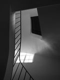 Staircase and Banister with Sunlight and Mystery Blackhole Attic Stock Photo