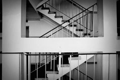 Staircase in a block of flats. Black and white Royalty Free Stock Photography