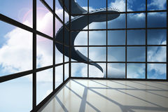 Staircase in blue sky seen through window Stock Photo