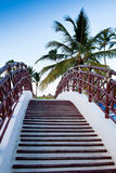 Staircase of the bridge under palm blue sky Stock Photography