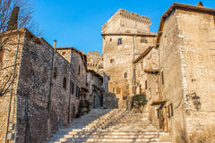 The staircase in the center of Sermoneta, a medieval village in Stock Photos