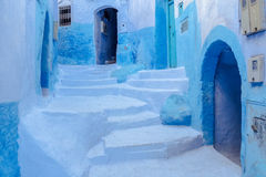 Staircase in Chefchaouen Royalty Free Stock Photography