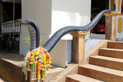 Staircase with cobras. Snake statue in Thailand photographed close up Royalty Free Stock Image