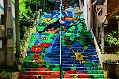 Staircase with colorful drawings. stock photo