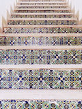 Staircase covered with Arabic tiles pattern Royalty Free Stock Images