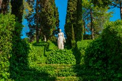 Staircase covered with ivy and sculpture. In the Santa Clotilde Gardens in Lloret de Mar royalty free stock photography
