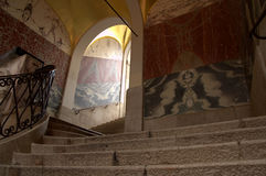 Staircase covered with paintings in Nice, France. Soaps colored skin at market stall Royalty Free Stock Image