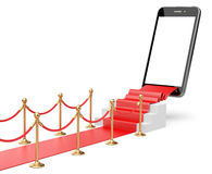 Staircase covered with red carpet with barrier rope and modern s Royalty Free Stock Photos