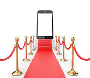 Staircase covered with red carpet with barrier rope and modern s Stock Photos