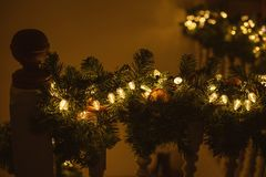 Staircase Decorated For Christmas Warm Tone stock photography