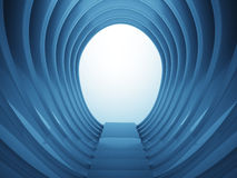Staircase down in oval construction in blue light Stock Photo