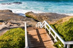 Staircase Down to Windansea Beach in La Jolla royalty free stock photography