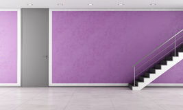 Staircase in a empty purple lounge Royalty Free Stock Photography