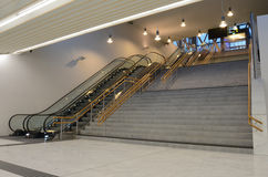 Staircase and escalators. Empty staircase and escalators in the bus and train station Royalty Free Stock Photo