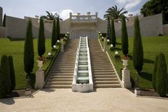 Staircase and fountain at Baha'i Gardens Haifa. Viewed from the bottom Royalty Free Stock Photo