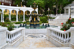 Staircase at the fountain. Marble staircase at the fountain in the classic style Royalty Free Stock Photos