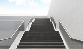 Staircase front view. Staircase going up in modern building. Concept of growth. 3D render Royalty Free Stock Photos