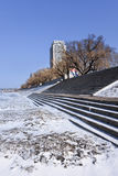 Staircase at frozen Songhua river at Harbin, Heilongjiang Province, China. Staircase at an icy Songhua riverbank at Harbin, Heilongjiang Province, China Stock Image