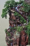 Staircase at the giant buddha site in Leshan royalty free stock images