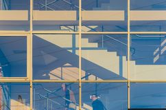 Staircase with Glass Facade in an Office Building royalty free stock images