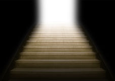 Staircase going up to white light Stock Photography