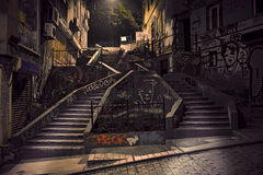 Staircase with graffiti. In Beyoglu district of Istanbul, Turkey royalty free stock images